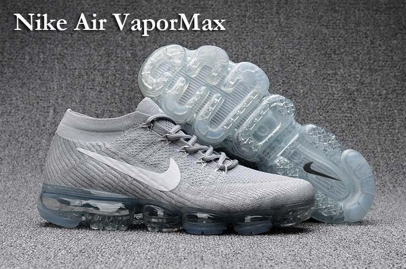 6814e479fd Nike Flyknit Air VaporMax 2018 Men's Running Shoes White Light blue ...